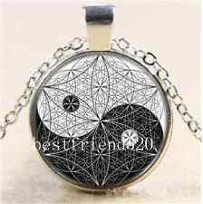 Sacred Geometry  Ying and Yang Cabochon Glass Tibet Silver Chain Necklace#2086