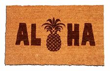 Aloha Pineapple Laser Engraved Welcome Mat, 100% Natural Coir Fiber