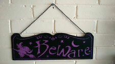 "Fab Purple Glitter Witch on Broomstick ""Beware"" Wooden Halloween Hanging Sign"