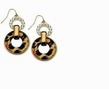 GUESS Gold-Tone Leopard and Crystal Double Ring Dangle Link twice.Earrings BNWT