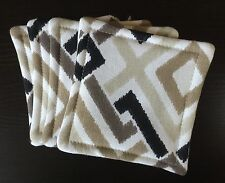 Set of 4 Reversible Absorbent Fabric Coasters  Black Brown White Modern New