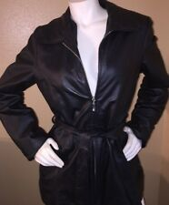 Black Oscar Piel Leather Jacket with Belt sz L