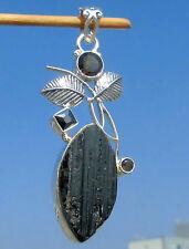 Schörl - schwarzer Turmalin - Anhänger Silber 925 mit Rauchquarz und Onyx