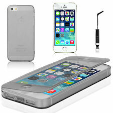 Black Transparent Gel Flip Case Cover for Apple iPhone 5 5s + Screen Protector