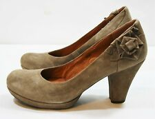 ANTHROPOLOGIE NAYA SHOES BAKULA PLATFORM PUMPS FLOWER APPLIQUE BEIGE LEATHER 9