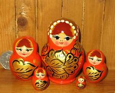 Russian SMALL nesting doll 5 ORANGE GOLD  BLACK Khokhloma Babushka Matryoshka
