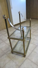 Vintage Two Tier Brass & Glass Shelf, Free Standing or Wall