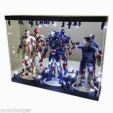 """MB Acrylic Display Case LED Light Box for THREE 12"""" 1/6th Scale IRON MAN Figure"""