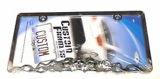 NEW Metal Chrome Skulls in Flames Auto License Plate Frame