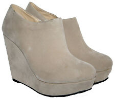 """LADIES BEIGE FAUX SUEDE 4.5"""" WEDGE HEEL ANKLE BOOT WITH SIDE ZIP IN SIZE 7"""