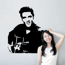 Elvis Presley Playing Guitar Vinyl Quote Wall Sticker Wall Decals home Decor