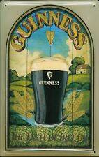 Guinness Pint In The Countryside Embossed 3D Metal Pub Bar Irish Licensed Sign