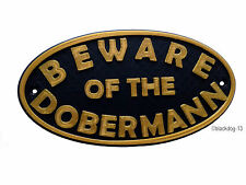 Beware of The Dobermann Dog Sign - House Garden Plaque - Black/Gold