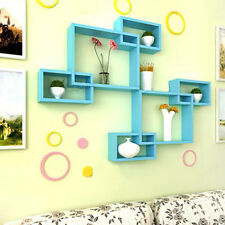 1pcs Blue Wall Mount Intersecting Cubes Shelves Decor Display CD Storage Unit