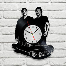 Supernatural design vinyl record clock home decor art playroom shop office club