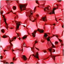 250 Red Pearl 13mm Star Pony Beads Plastic Made in the USA