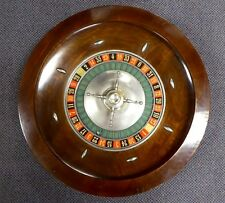 "Antique Classic Wood Table Top Roulette Gambling Wheel. 24"" D. 25 lbs. 1930."
