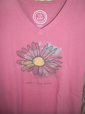 """NWT!   LIFE IS GOOD WOMENS S/S CRUSHER  V-TEE  """" HAVE A NICE DAISY """"  (M)"""