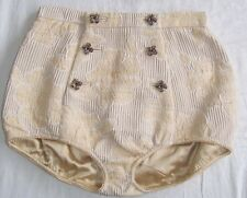 DOLCE & GABBANA Tan Textured Floral Jeweled Button Hot Pants Shorts 40 4