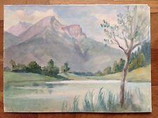Acquarello colori fine '800 primi '900 lago montagne albero ALPI APPENNINI