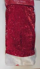 48 IN RED FUR SEQUINS & WHITE FAUX FUR TREE SKIRT CHRISTMAS DECORATION