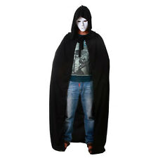 Adult Mens Ladies Hooded Robe Long Black Cloak Cape Hood Halloween Fancy Costume