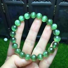 Natural Green Apatite Cat Eye Crystal Round Beads Bracelet AAAA 9mm