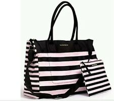 Victoria's Secret 2016 Pink Black Stripe Weekender Getaway Tote Travel Bag , NWT