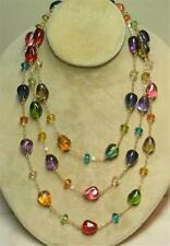 "JOAN RIVERS GOLD PLATED 60"" SINGLE STRAND MULTI COLOR GLASS BEAD NECKLACE NEW"