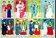Singapore stamps - 2007 Korea joint issue Costumes set 8v MNH