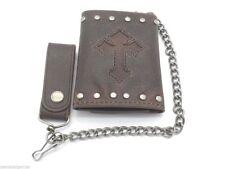 New Men's Cross Wallet Biker Jean Chain BillFold Genuine Leather Key Ring Brown