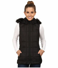 The North Face Women's Gotham Vest Down Insulated Fur Hood Vest Black Size S New