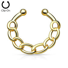1pc Non-Piercing Chain Link Septum Hanger Clip-On Fake Nose Ring Body Jewelry