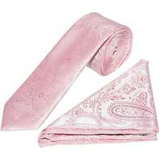 Hand Made Light Pink Paisley Skinny Men's Tie and Handkerchief Set Wedding Tie