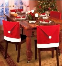 "Red Santa Hat Christmas Chair Covers (21"" x 20)~Set of 4 Brand New"