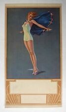 Original Vintage Pin Up Girl Picture by Erbit Blond w/ Red White Blue Cape