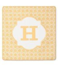 """Threshold Monogram Pillow Cover, """"H"""" 18"""" x 18"""", Yellow - NEW"""