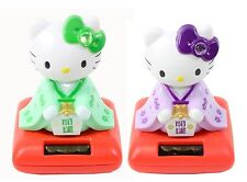 2 Set Cute Hello Kitty in Kimono Solar Toy Lucky Home Decor Gift US Seller