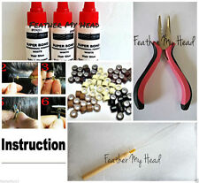 Feather Hair Extension Tool Kit - Pulling Tool,  Tri Clamp Pliers, Beads, Glue