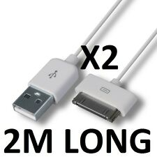 2 x 2m extra long sync + charger cables for IPOD NANO 3rd 4th 5th 6th GENERATION