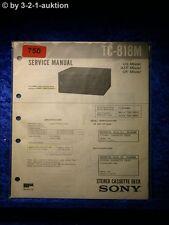 Sony Service Manual TC 818M Cassette Deck  (#0750)