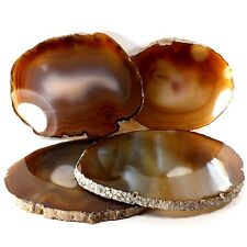 Agate Gemstone Polished Crystal Slice Coaster 4 Set (EA5723)Brazil healing decor