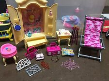 Barbie Pink Furniture Bedroom Dresser Stools Shoes Purses Accessories Lot