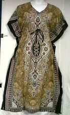 Plus Size Batik Kaftan Cotton Caftan Loungers Long Dress Beach Cover up Brown