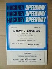 Hackney Speedway- 1972 Spring Gold Cup Programme HACKNEY v WIMBLEDON, 14 April