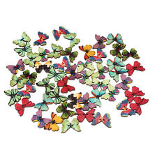 50PCS Wooden Novelty butterfly shaped Sewing Buttons scrapbooking Art Crafts UK
