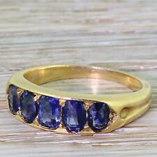EDWARDIAN 1.70ct NATURAL, UNHEATED SAPPHIRE FIVE STONE RING - 18k Gold - c 1910