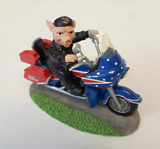 Hamilton Road Hogs Collection ONE SWINE RIDE Pig on Motorcycle PATRIOTIC Figure