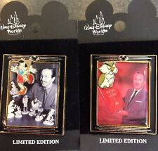 Disney WDW Lot of 2 With Walt Framed Series Pinocchio Archimedes LE Pins NEW
