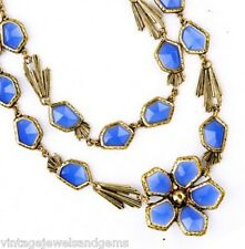 BLUE FLORAL OPEN BEZEL CRYSTAL RHINESTONE Chunky Gold Pendant Statement Necklace